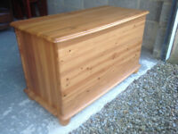 Solid Pine Toy Chest Or Bedding Box with bun shaped feet