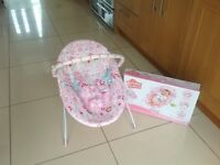 Pink Baby Bouncer with vibrating function - Bright Starts Bouquet Surprise, VGC