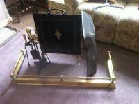 Brass fire surround / brass storage box / screen and companion set