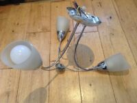 Ceiling light in silver with opaque glass shades