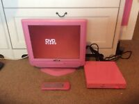 """Pink 15"""" 12v lcd tv with pink DVD player"""