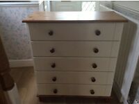 5 drawer chest in Cream and Pine