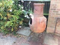Beautiful large terracotta chimnea 125cm tall 60cm wide inc stand