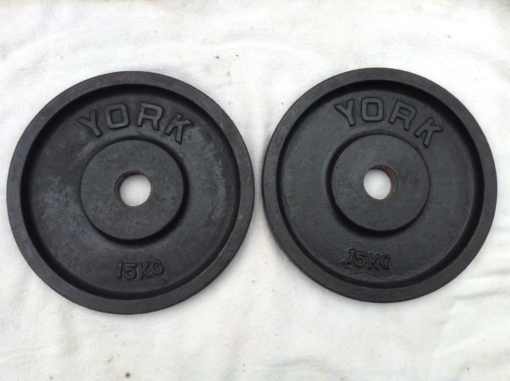 2 x 15kg York Olympic Cast Iron Weights