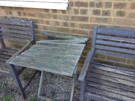 Old wooden table and chairs - free