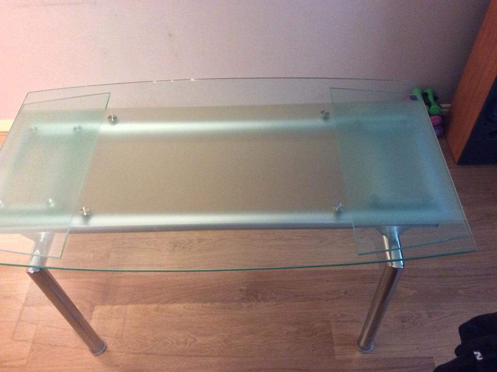 Glass Boat Shape Dining Table