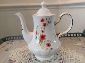 Large Colclough Bone China Coffee / Tea Pot. Red Floral