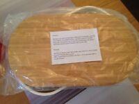Zeller bread bin, 39 x 23 x 18.5cm, bamboo lid, cream powder coated metal bin, boxed