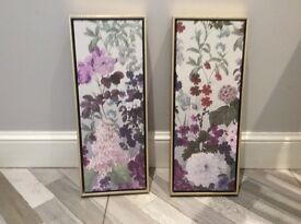 2 lilac and plum flower canvas block pictures
