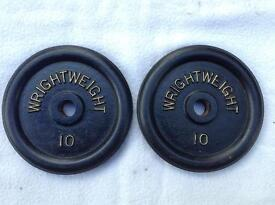 2 x 10lb (4.5kg) Wrightweight Standard Cast Iron Weights