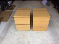 Pair of IKEA 'Malm' bedside drawer units in Light Oak
