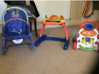 Fisher Price baby rocker, vTech baby walker and Chico baby walker