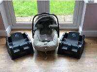 Mamas & Papas Primo Viaggio baby car seat/ carrier and two bases - fantastic condition!