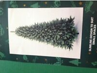 Slimline 6ft 6in Christmas tree and box of tree decorations.