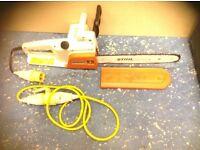 Stihl E14 chainsaw 110v extra plug lead and 2 extra chains 1 brand new