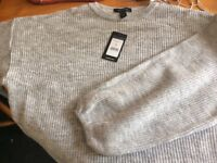 grey puff ball sleves ladies jumper by new look