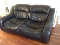 Black Leather Sofa with Chaise Longue in Great Condition