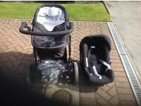 Britax b travel system with car seat carry cot and mattress
