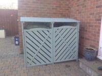 Double Wheelie Bin Storage Unit. Sage Green colour