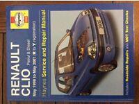 Haynes manual Renault Clio '98 to '01