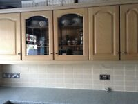 Limed oak kitchen units with Stoves Gas hob, extractor and lights