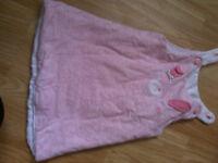 Infant baby pink sleeping bag / dress 0-6 months