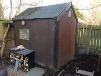 Garden Shed for sale. Peaked Roof. Door opens outwards for maximum space. 8 by 6 feet.