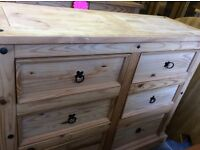 Large chest of 6 really deep Mexican pine drawers. Vgc