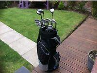 Full set of ram laser right handed golf clubs & bag
