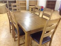 5FT SOLID OAK EXTENDING TABLE AND 6 CHAIRS