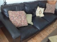 Leather sofa - very dark brown - large 3 seater