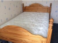 Pine double bed and mattress