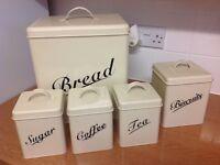 Cream Metal retro bread bin, tea sugar and coffee tins and biscuit tin
