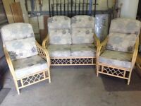 Conservatory settee and 2x armchairs in excellent condition.
