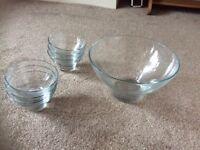 Glass dessert set. 7 piece.. new!
