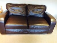 2 & 3 Brown Leather Sofas for Sale