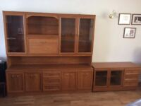 Living room display and drinks cabinet finished in nat oak veneer of high quality. Worth a look .