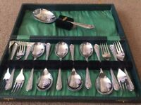 Set of Dessert Cutlery. 6 Forks, 6 Spoons and Serving Spoon.