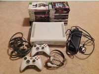 Xbox 360 + 2 controllers + 24 games + headset