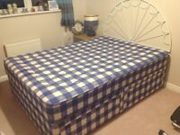 Double bed divan with headboard