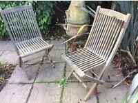 Wooden garden chairs x2