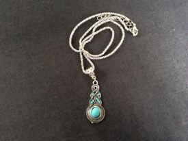 Silver/aqua Drop Necklace
