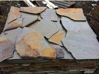 Cornish slate crazy paving, random pieces, rustic or Blue/grey on £20.00 incl vat per square meter.