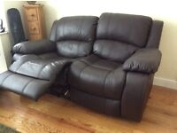 Leather Dark Brown Reclining Two Seater Sofa