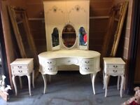 French style Olympus dressing table,wardrobe 5draw cabinet and 2bedside cabinets