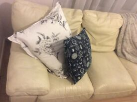 Cream Leather, 3 Seater Sofa!