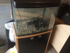 Fish tank and stand Curved tank including a spare brand new heater