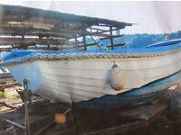Wooden Clinker Boat - Pram Dinghy Front - Inboard Diesel Engine - Woodbridge