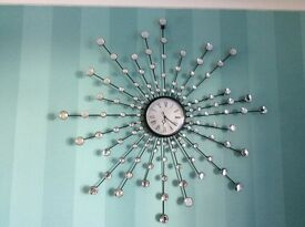 Gorgeous bling silver starburst wall clock, perfect condition