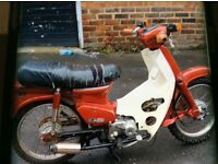 HONDA C90, R REG, IN RED 21000 MILES, ITS COMPLETE, STARTS RIDES AND RUNS